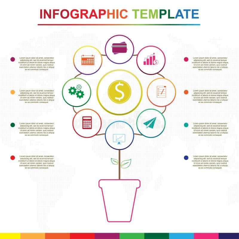 抽象树infographics元素 与9个标题的五颜六色的infographic模板 皇族释放例证