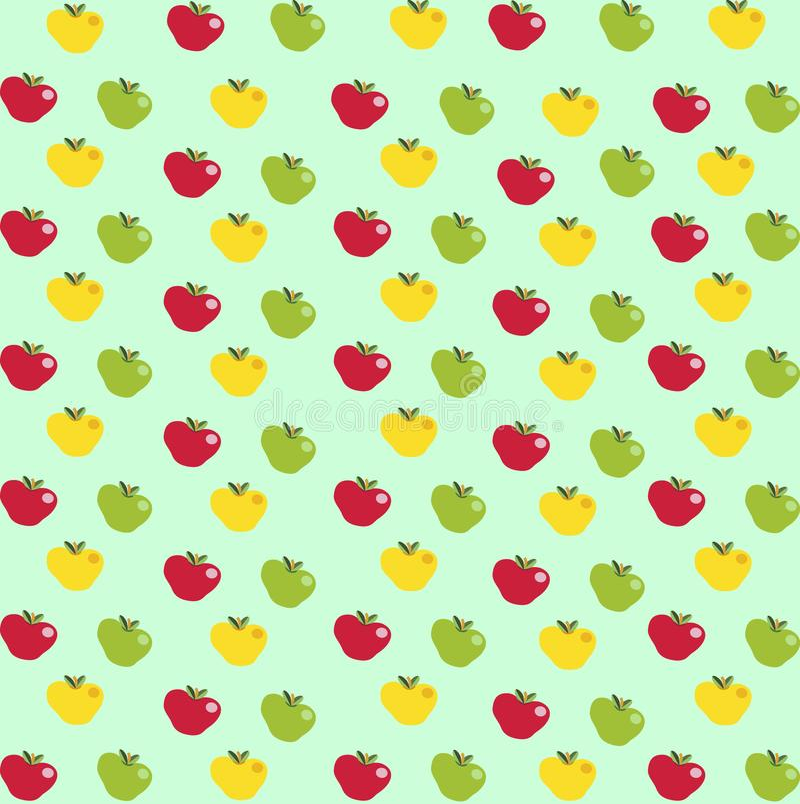 抽象样式用在浅兰的背景的动画片苹果 库存例证