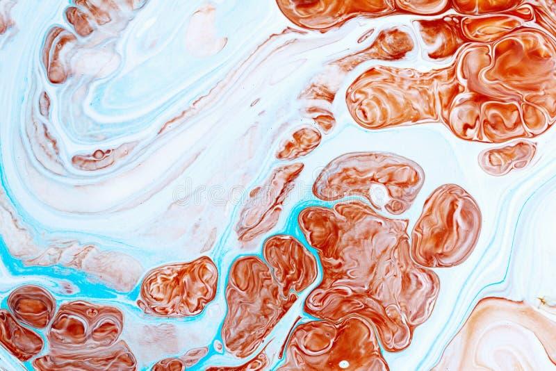 抽象样式,传统Ebru艺术 颜色与波浪的墨水油漆 大理石背景 库存图片