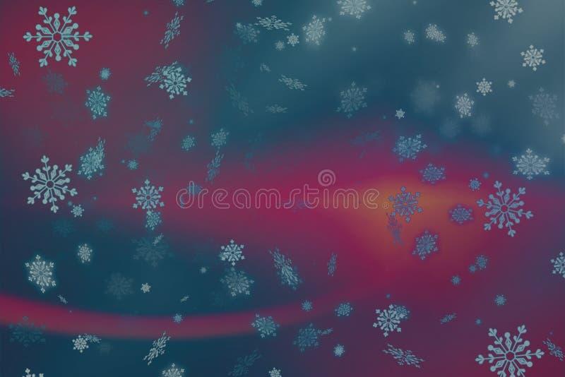 抽象桃红色和紫色圣诞节背景与雪和雪花 库存例证