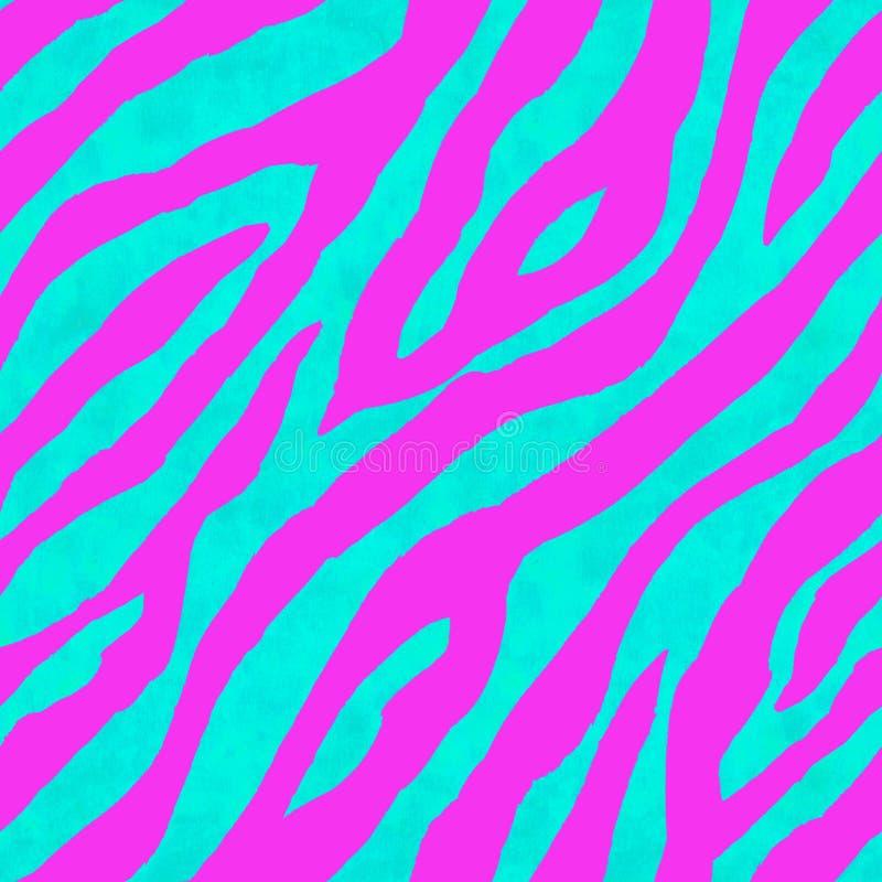抽象桃红色和蓝色斑马镶边织地不很细无缝的样式背景 皇族释放例证