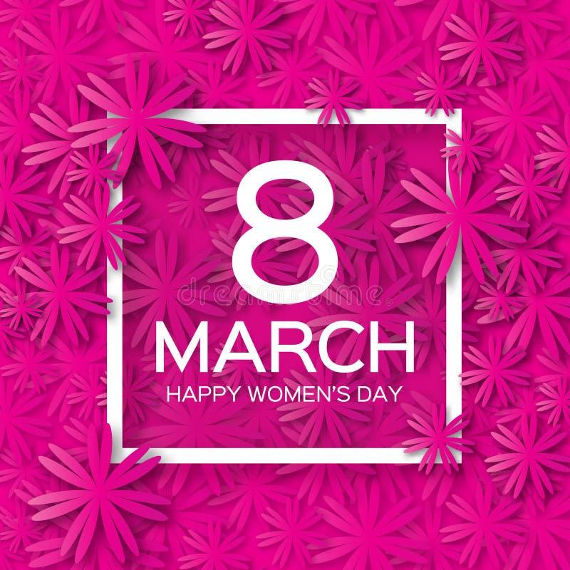 抽象桃红色花卉贺卡-国际愉快的妇女的天- 3月8日假日背景 向量例证