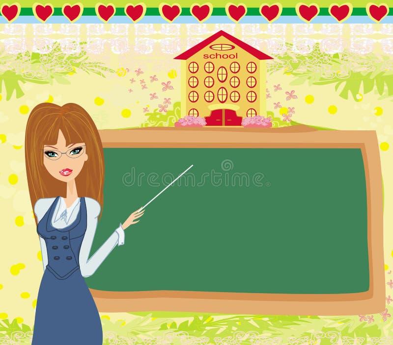 抽象框架学校-老师和黑板 向量例证