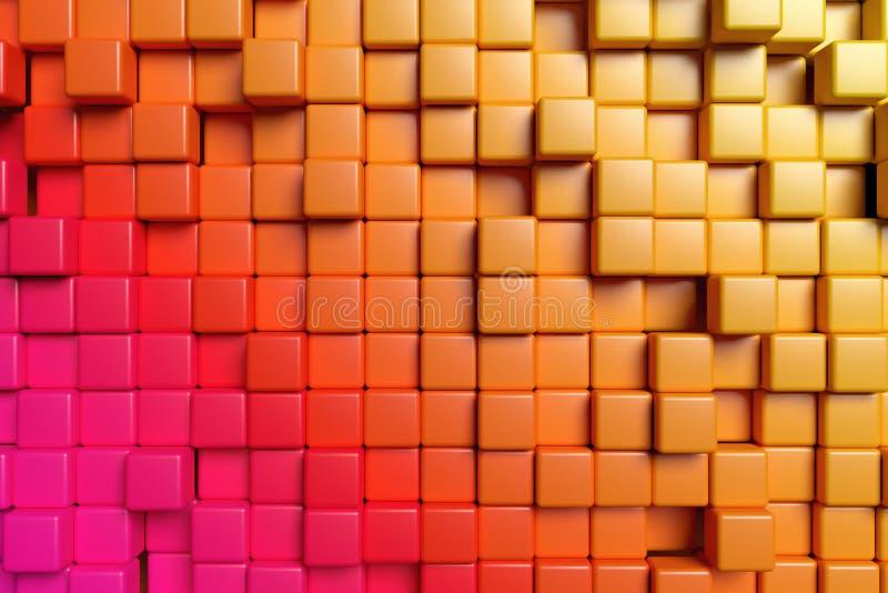 抽象桔子求3d背景的立方 库存例证