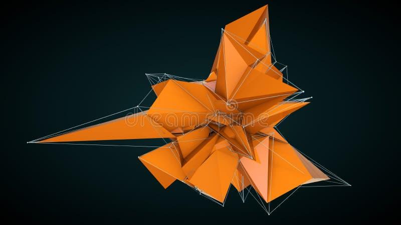 抽象桔子3d雕琢平面的背景 皇族释放例证