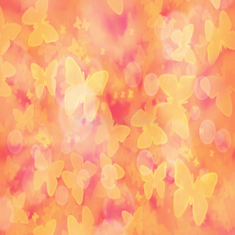 抽象梯度与黄色蝴蝶和bokeh作用的被弄脏的背景 皇族释放例证