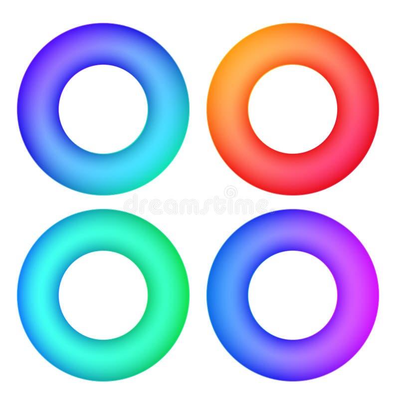抽象梯度圈子现代框架颜色或网模板 在白色围绕圆环形状的传染媒介集合colorfull隔绝的 库存例证