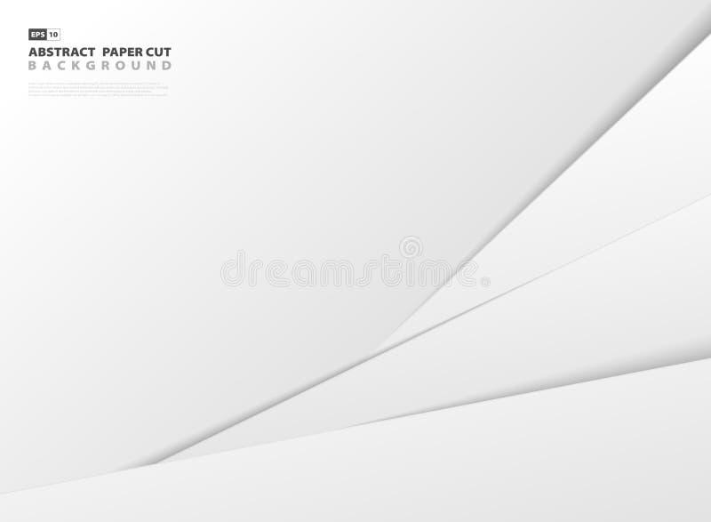 抽象梯度灰色和白皮书被削减的样式模板背景 皇族释放例证