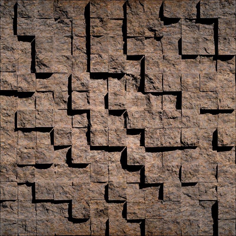 抽象棕色石立方体 免版税库存照片