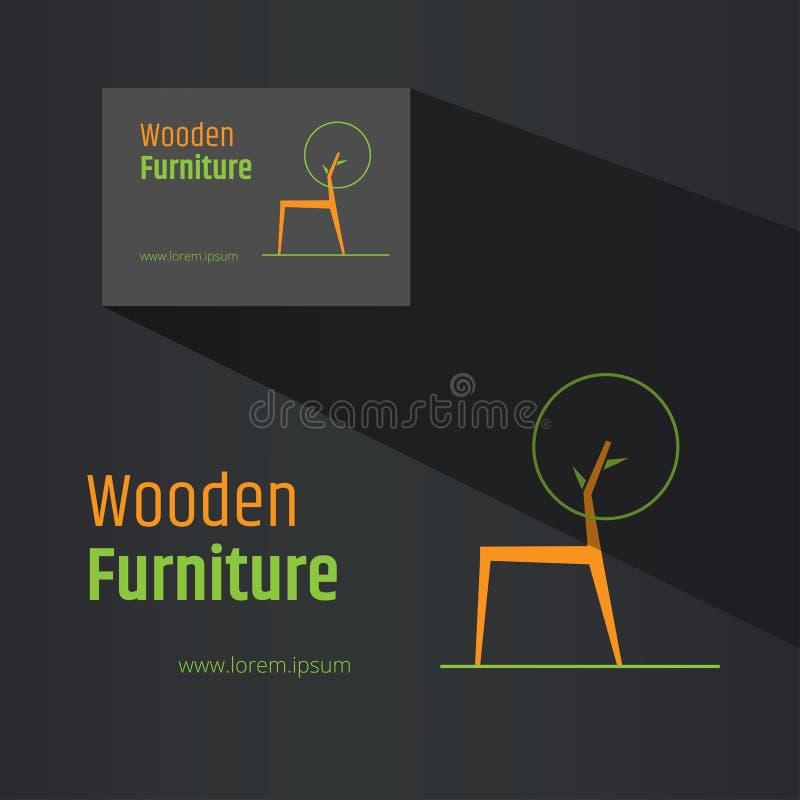 抽象椅子标志-创造性的木家具商标设计 包括的名片设计 Eco设计观念 库存例证