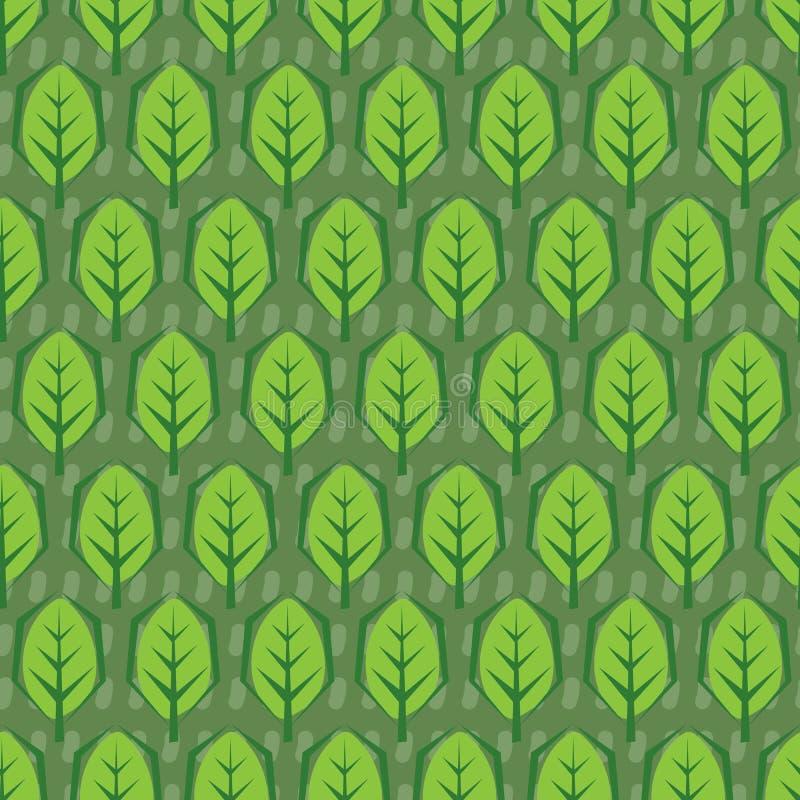 抽象模式无缝的向量 叶子在绿色背景中铺磁砖 皇族释放例证