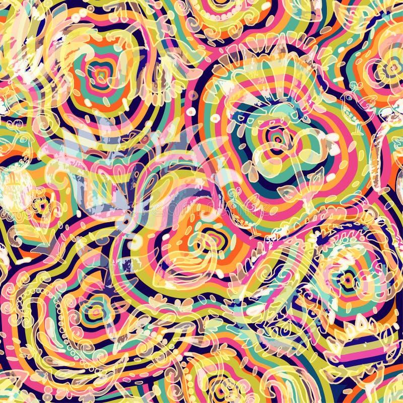 抽象模式无缝的向量 种族无缝的墙纸 五颜六色的形状背景 皇族释放例证
