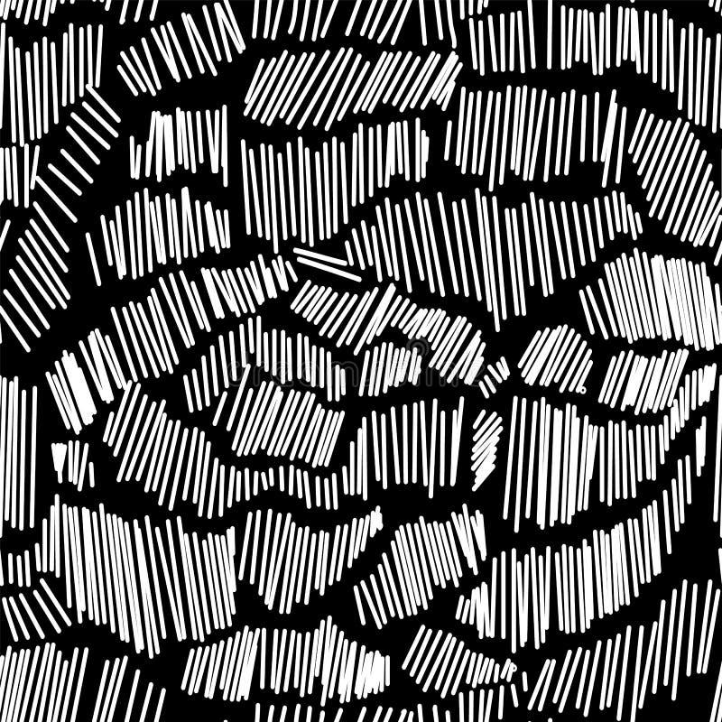 抽象模式无缝的向量 Linocuts线重复纹理的冲程 皇族释放例证