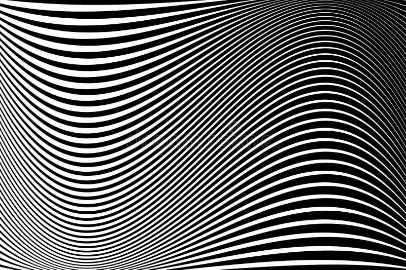 抽象模式 与波浪,惊涛骇浪的线的纹理 光学艺术的背景 黑白波浪的设计图片