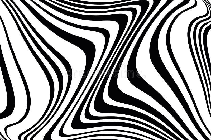 抽象模式 与波浪的纹理,曲线线 光学艺术的背景 黑白波浪的设计 与的图片