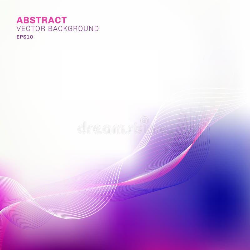 抽象模板蓝色和紫色被弄脏的背景与线波动图式与拷贝空间 向量例证