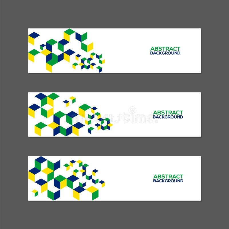 抽象横幅的汇集与巴西旗子颜色的 库存例证