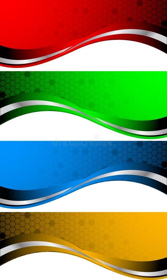 抽象横幅被设置的向量 库存例证