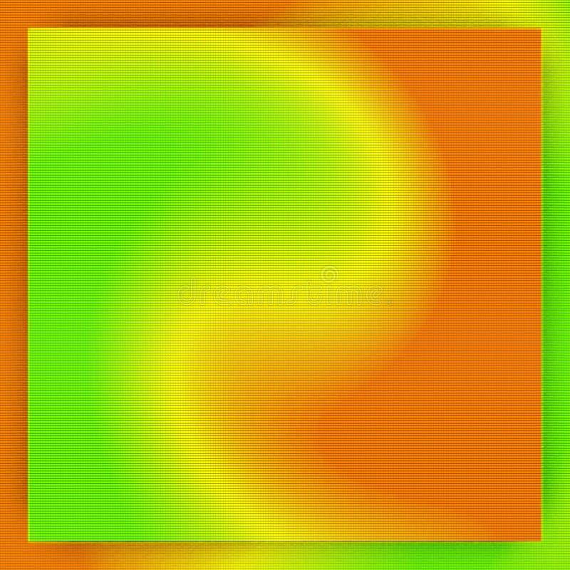抽象橙色和绿色梯度背景在方形的框架转动 皇族释放例证