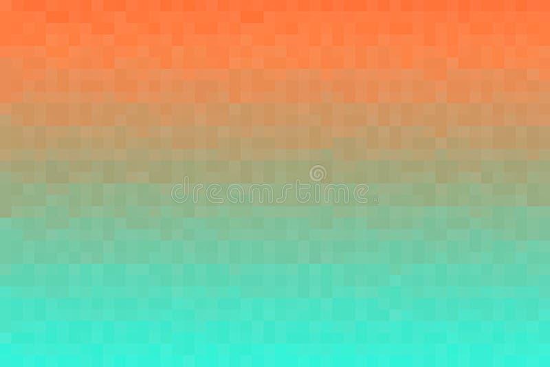 抽象橙色和绿色梯度背景 与映象点方形块的纹理 马赛克样式 库存例证