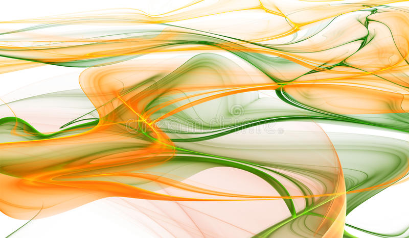 抽象橙色和绿色波浪背景 向量例证