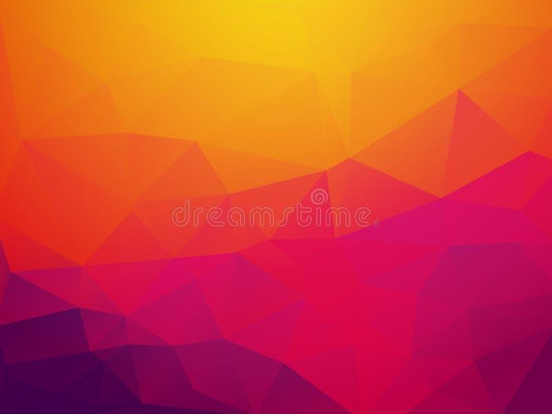 抽象橙色紫色日落多角形传染媒介背景 皇族释放例证