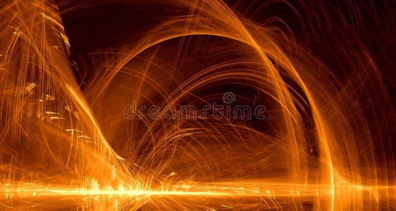 抽象橙色,黄色,金光发光,射线,在黑暗的背景的形状 库存例证