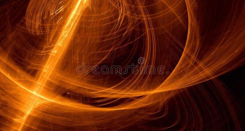 抽象橙色,黄色,金光发光,射线,在黑暗的背景的形状 皇族释放例证
