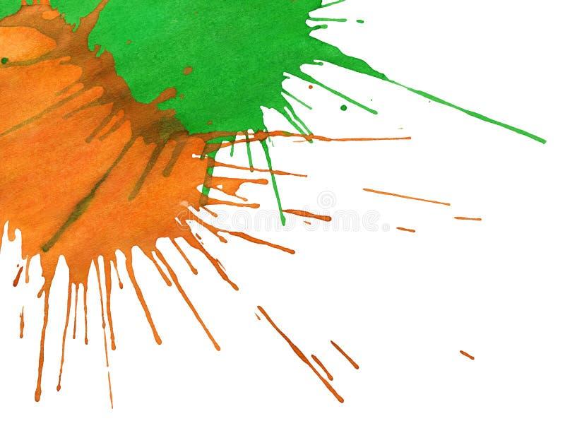 抽象橙色绿的水彩斑点 库存图片