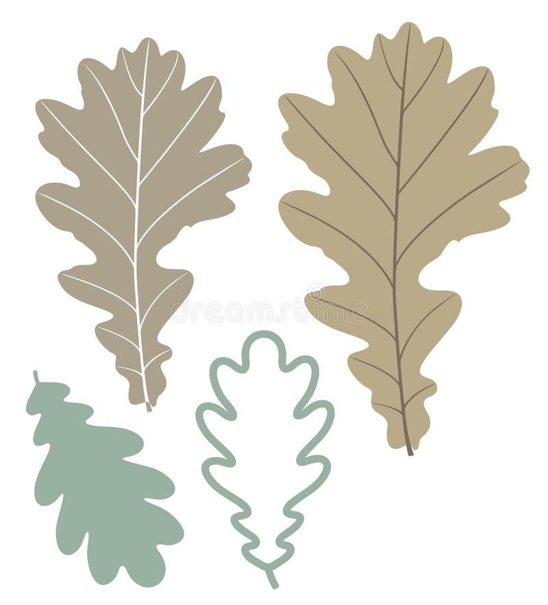 抽象橡木叶子 向量例证
