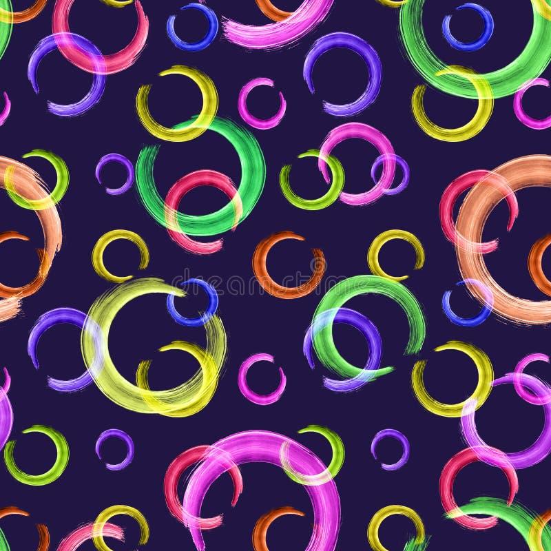 抽象欢乐五颜六色的样式 在深蓝背景的霓虹圈子 库存例证