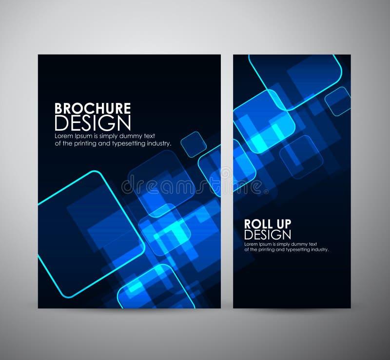 抽象正方形 小册子业务设计模板或卷起 库存例证