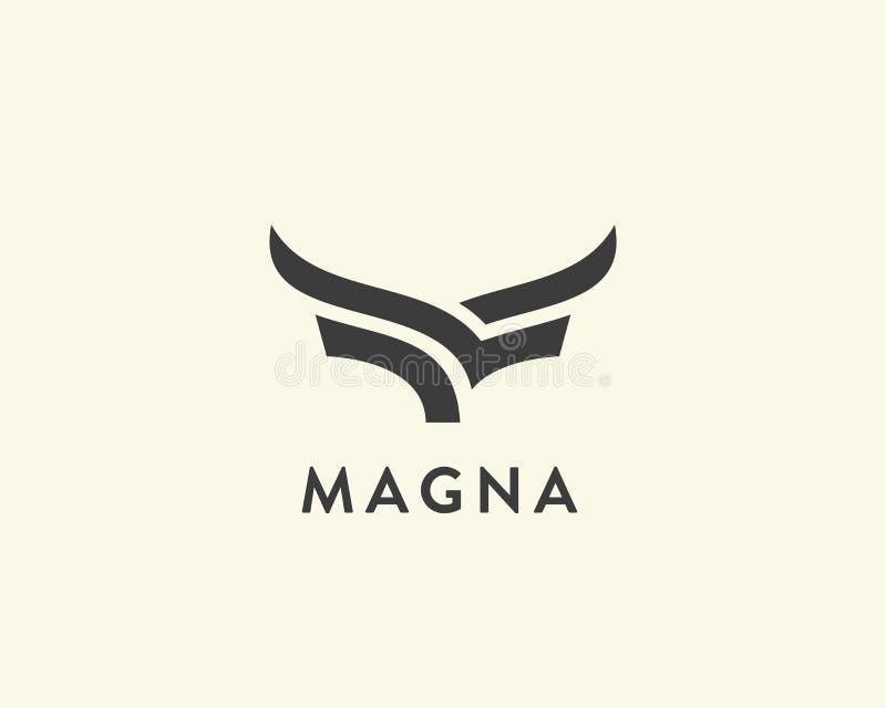 抽象母牛牛排优质商标设计 创造性的公牛角线象标志 豪华飞过鸟略写法 皇族释放例证