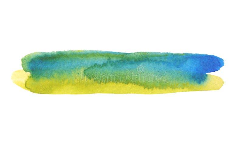 抽象水彩与丙烯酸线刷笔划污画 免版税库存照片