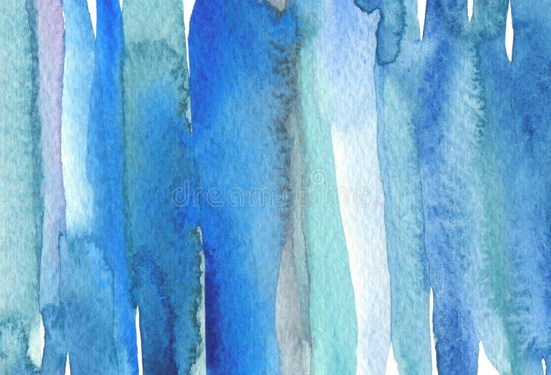 抽象水彩与丙烯酸线刷笔划污画 蓝色、绿松石色设计元素 纹理纸背景 免版税图库摄影
