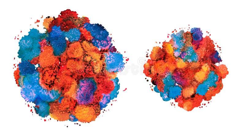 抽象水彩纹理,利用仿生学的形式,动态颜色希腊蓝色和红色 动态发展 增长 为背景 向量例证
