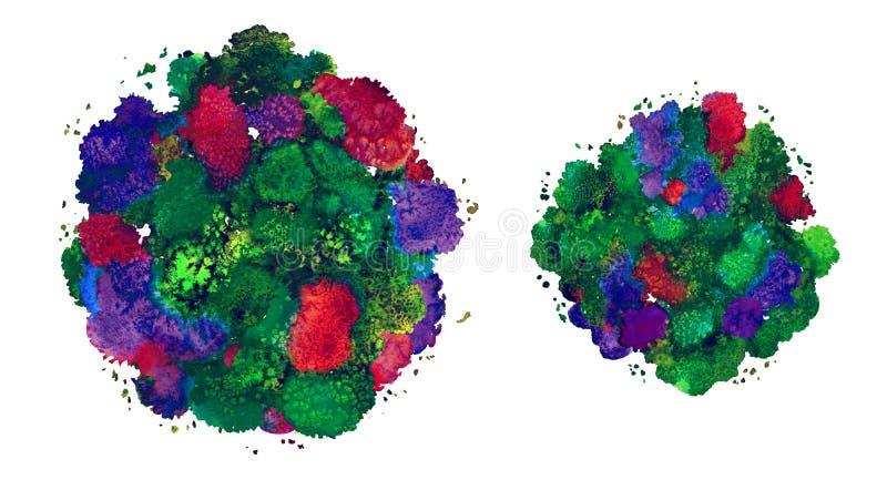 抽象水彩纹理,利用仿生学的形式,动态颜色绿色 动态发展 增长 为背景 查出在白色 皇族释放例证