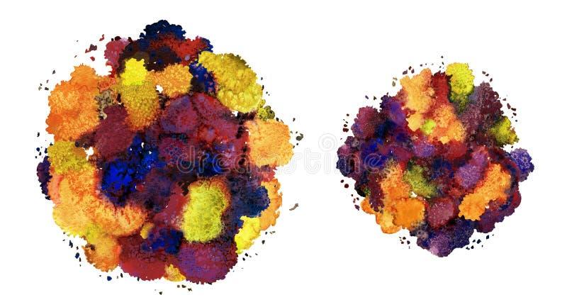 抽象水彩纹理,利用仿生学的形式,动态颜色 动态发展 增长 为背景 查出在白色 库存例证