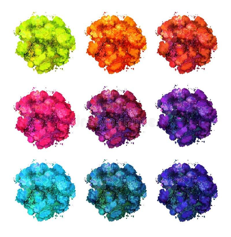 抽象水彩纹理,利用仿生学的形式,各种各样的颜色动力学  E r r 皇族释放例证