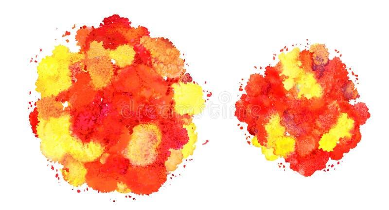 抽象水彩纹理,利用仿生学的形式,红色动态的颜色黄色和 动态发展 增长 为背景 查出 库存例证