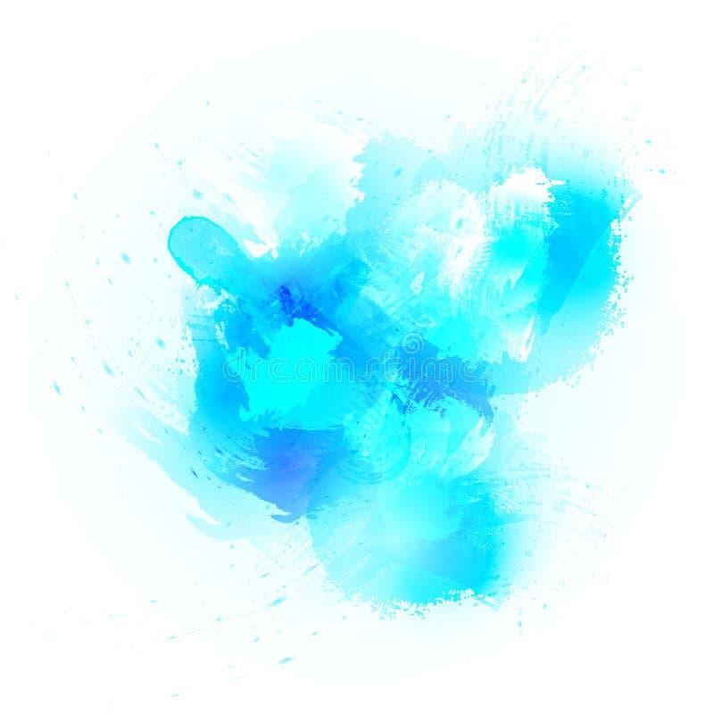 抽象水彩飞溅背景 在蓝色的设计元素标题、商标和销售横幅的 库存例证
