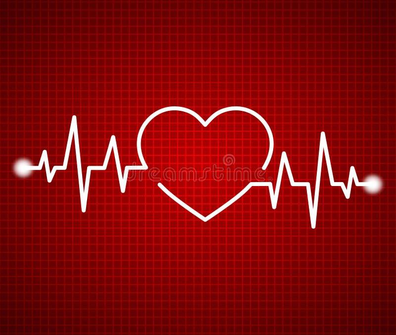 抽象沉重,心电图 心脏病学深红背景 救生线形成心形的脉冲 在红色的医疗设计 免版税库存照片