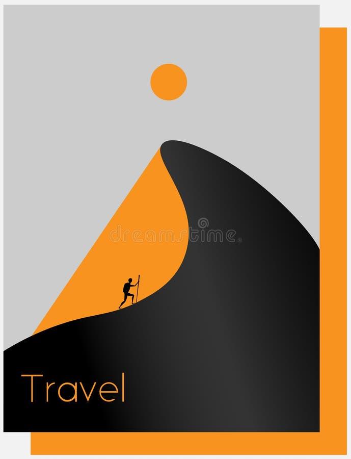 抽象沙漠,山,太阳,旅客,旅游业最低纲领派商标 向量例证