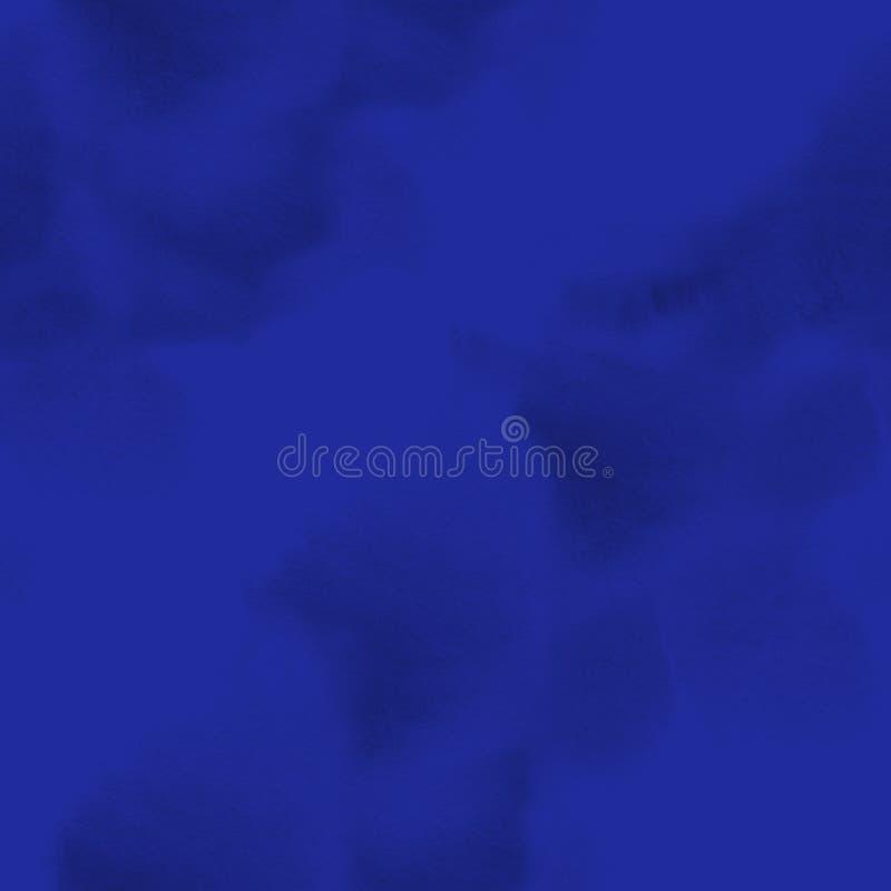 抽象油漆蓝色水彩无缝的纹理手画背景 库存例证