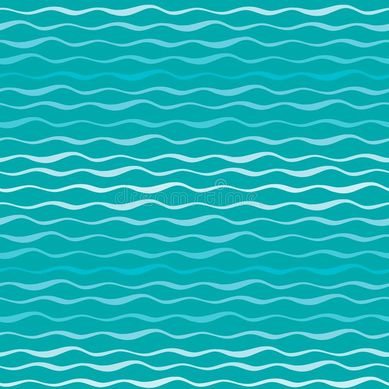 抽象波向量无缝的样式 海或海蓝色手拉的背景波浪线  向量例证