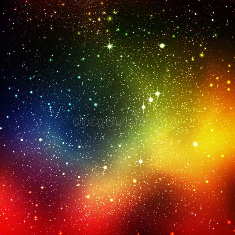 抽象波斯菊,宇宙背景-与猎户星座的轨道 向量例证