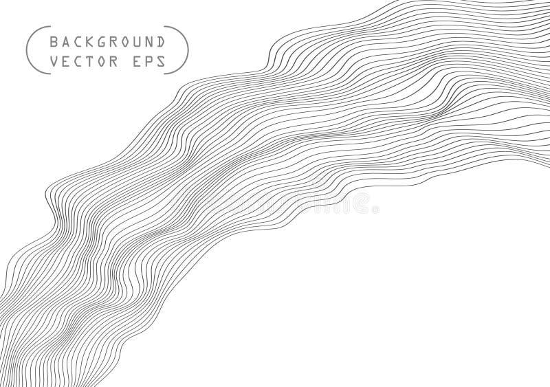 抽象波浪容量凸面线,灰色绕,安心波浪 bambi 传染媒介在轻的背景隔绝的对象模板 向量例证