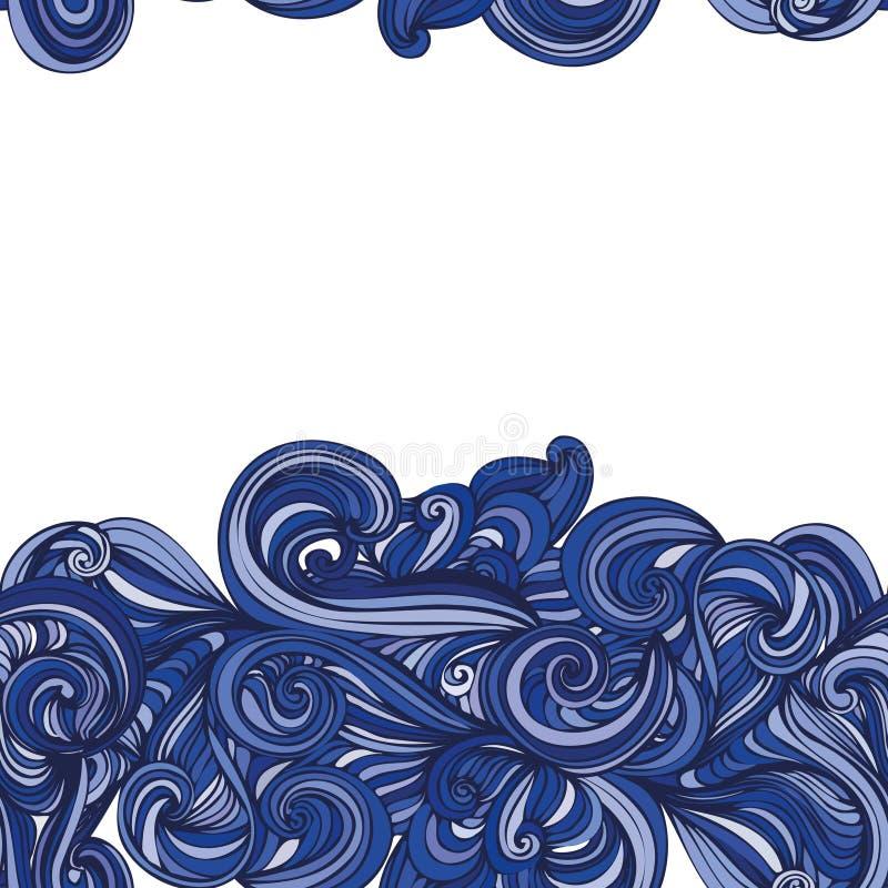 抽象波浪手拉的样式 无缝的纹理 库存例证