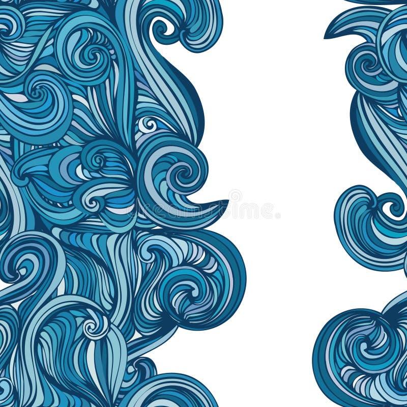 抽象波浪手拉的样式 无缝的纹理 向量例证