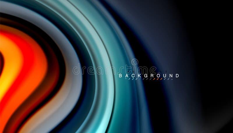 抽象波浪排行在黑背景的流动彩虹样式颜色条纹 向量例证